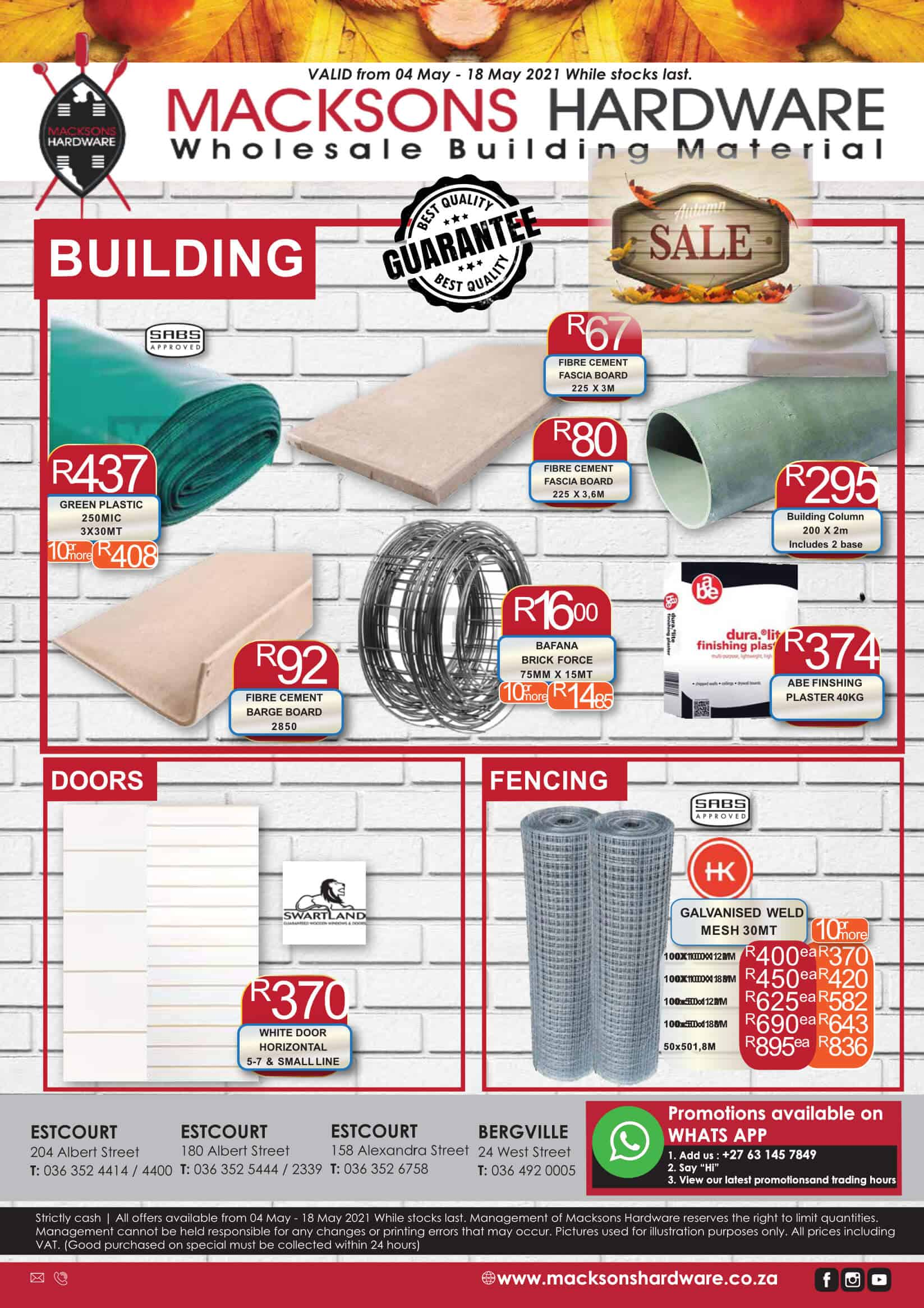Macksons Hardware Special Page 1 May 2021